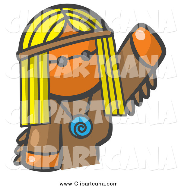 Clip Art of a Hippie Orange Woman Avatar Waving