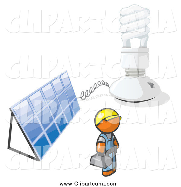Clip Art of a Installer Orange Man with an Energy Saver Light Bulb and Solar Panel