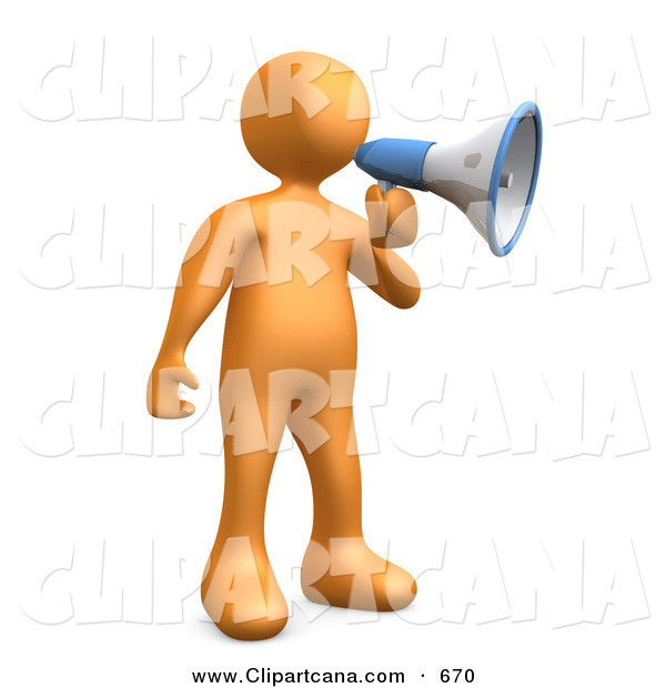Clip Art of a Loud Orange Guy Announcing Through a Megaphone