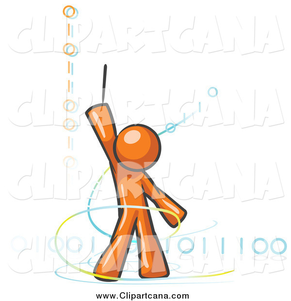 Clip Art of a Magic OrangeDesign Mascot Man Composing Binary Code