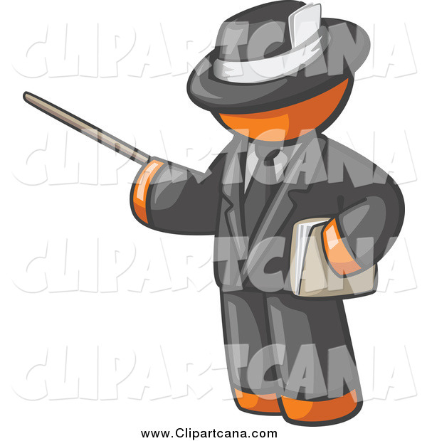 Clip Art of a Male Orange Teacher Using a Pointer in a Black Suit