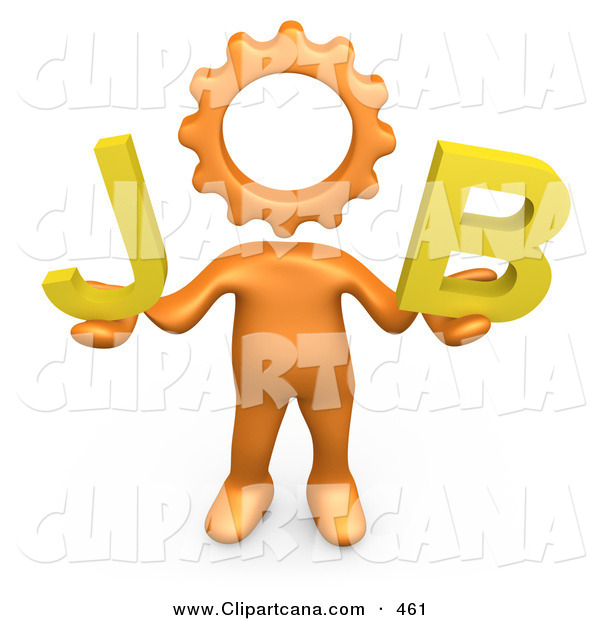 Clip Art of a Orange Cog Headed Person Holding Text That Spells out Job