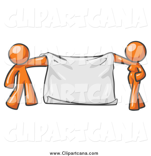 Clip Art of a Orange Couple Holding a Blank Banner