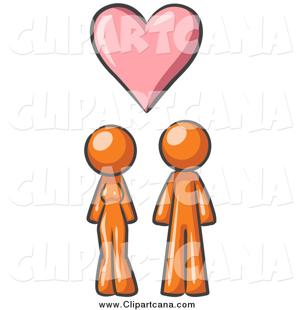 Clip Art of a Orange Couple Under a Floating Pink Heart