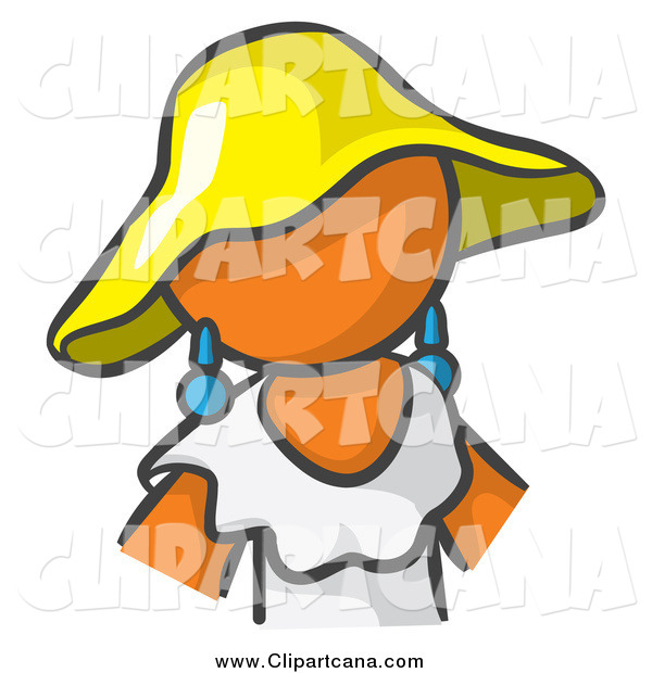 Clip Art of a Orange Lady Avatar in a White Dress and Yellow Hat