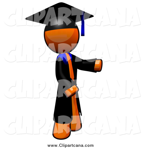 Clip Art of a Orange Man Graduate Presenting to the Right