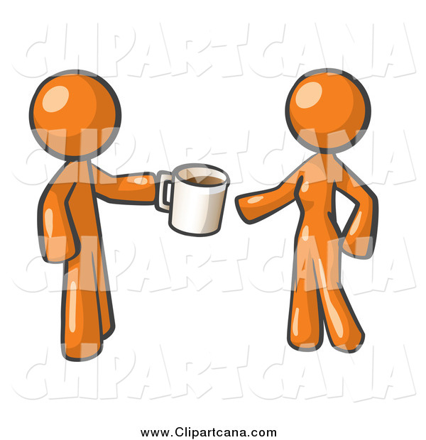 Clip Art of a Orange Man Handing a Woman a Cup of Coffee
