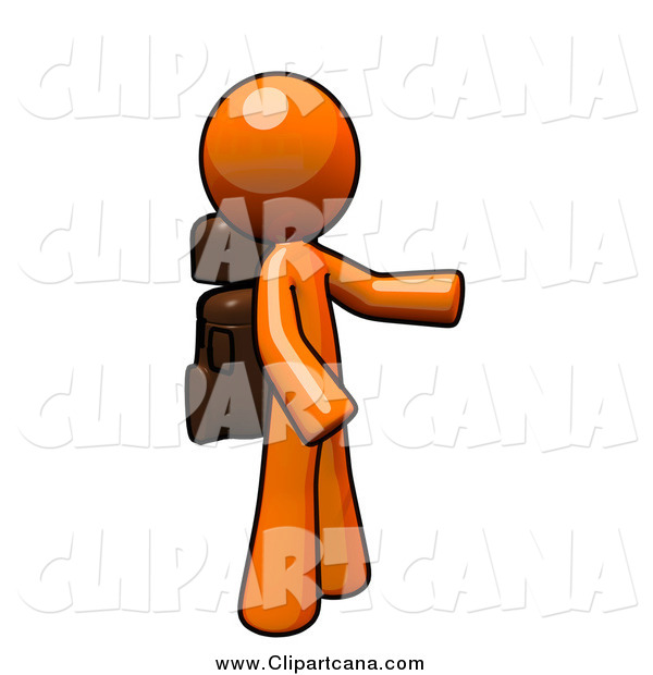 Clip Art of a Orange Man Hiker