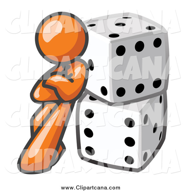 Clip Art of a Orange Man Leaning on Dice