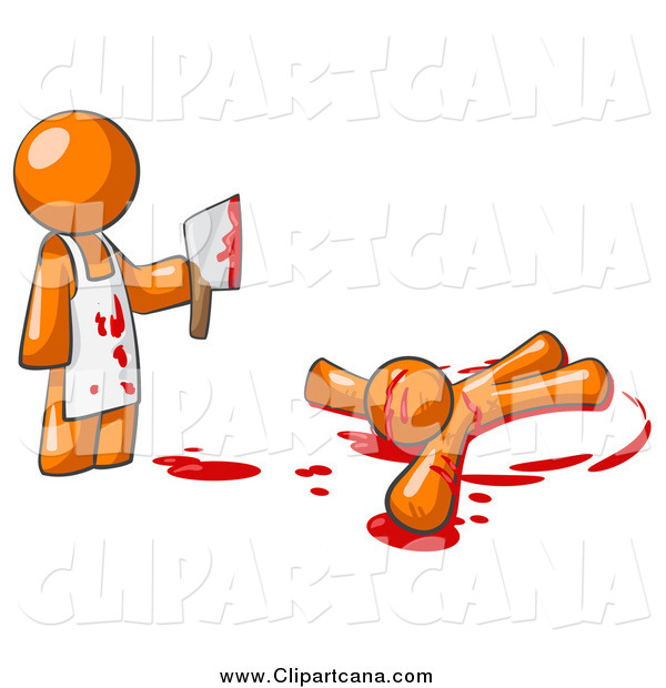 Clip Art of a Orange Man Murderer Holding a Cleaver Knife over a Bloody Body
