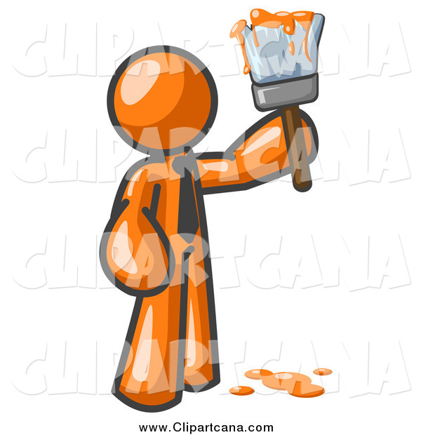 Clip Art of a Orange Man Painter