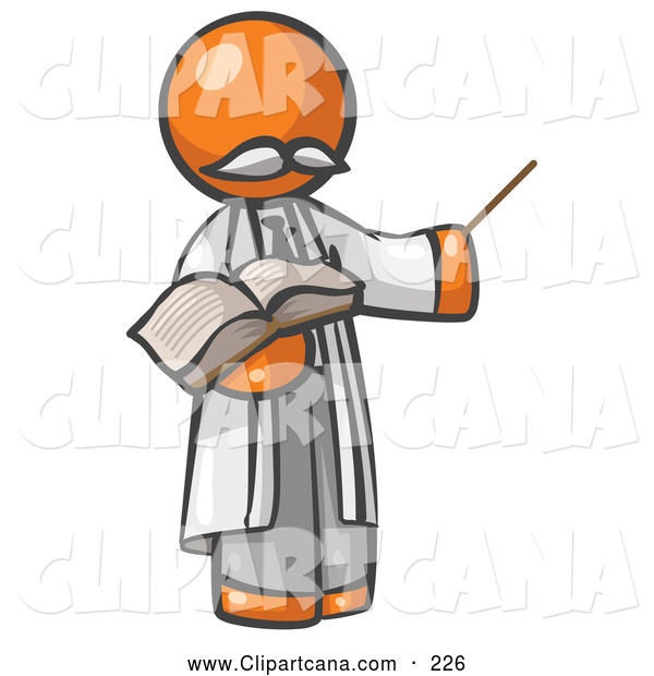 Clip Art of a Orange Man Professor Holding a Pointer and an Open Book