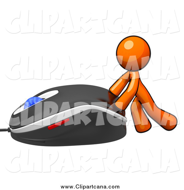Clip Art of a Orange Man Pushing a Giant Computer Mouse