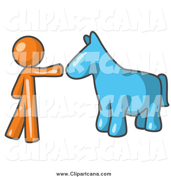 Clip Art of a Orange Man Reaching out to a Blue Horse