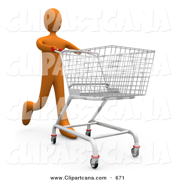 Clip Art of a Orange Man Running Through a Store and Pushing a Shopping Cart