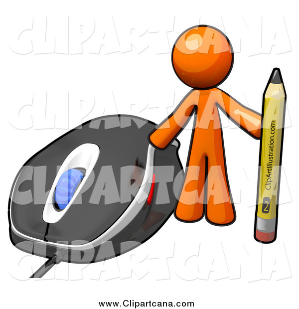 Clip Art of a Orange Man with a Pencil by a Computer Mouse