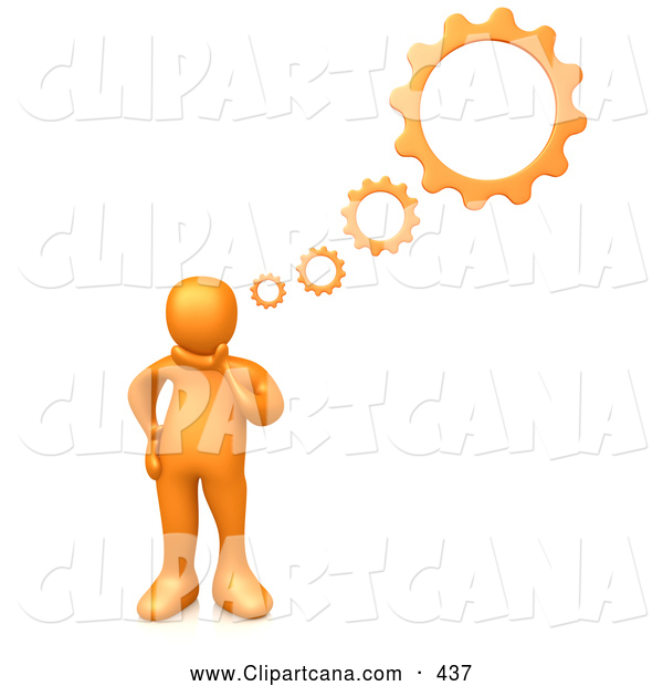 Clip Art of a Orange Person Inventing a Creation in His Head, Cog Wheel Thought Bubbles Above Him, on White