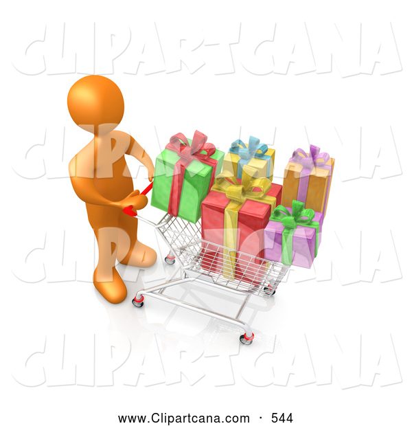 Clip Art of a Orange Person Pushing a Shopping Cart Packed Full of Colorful Wrapped Christmas Presents in a Store
