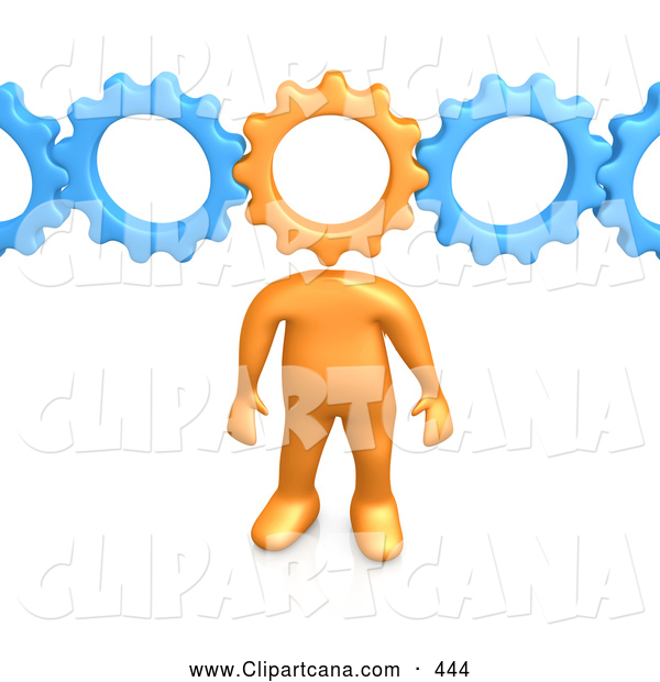 Clip Art of a Orange Person with a Cog Head Connected to Blue Gears, Symbolizing Inventing and Creativity and Imagination