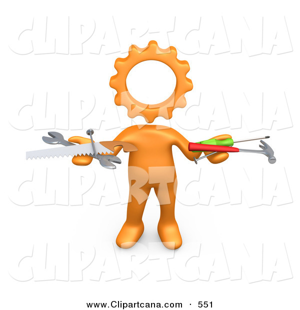Clip Art of a Orange Person with a Cog Head, Holding Nails, Screwdriver, Hammer, Saw and Wrench While Repairing