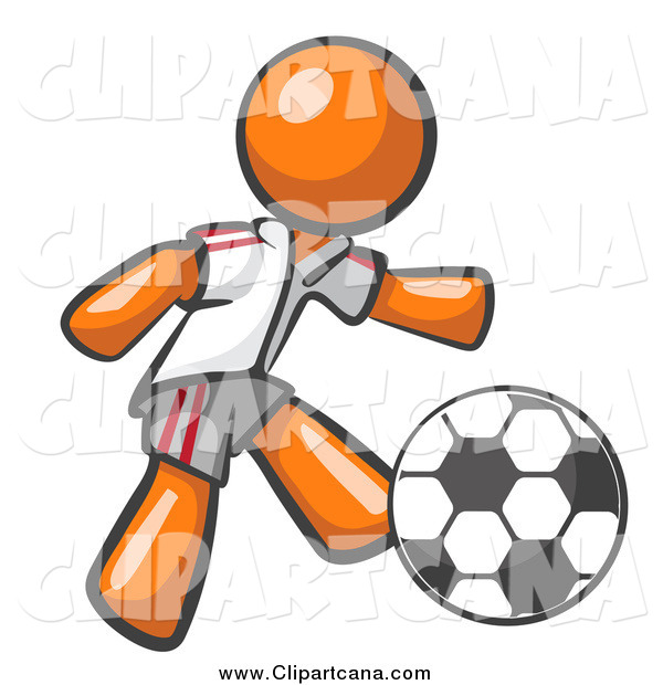 Clip Art of a Orange Soccer Player