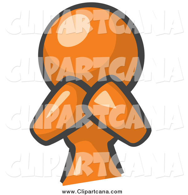 Clip Art of a Orange Woman Covering Her Mouth and Acting Surprised