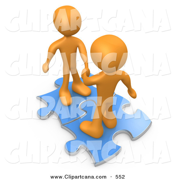 Clip Art of a Pair of Mature Orange People on Blue Puzzle Pieces, Engaging in a Handshake upon a Deal, Symbolizing Link Exchange and Teamwork
