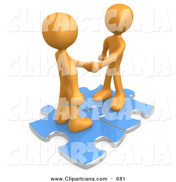 Clip Art of a Pair of Orange People Shaking Hands While Standing on Connected Blue Puzzle Pieces, Symbolizing Teamwork, Deals, and Link Exchanges for Seo Website Marketing