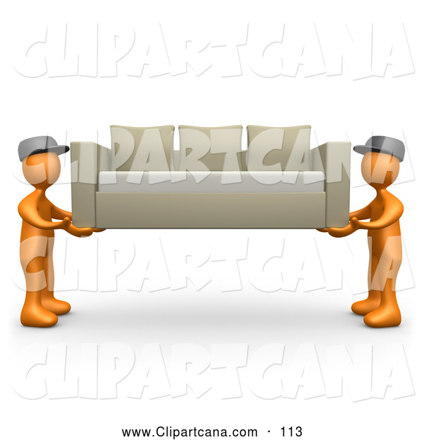 Clip Art of a Pair of Two Orange Male Figures Lifting and Carrying Away a Tan Couch While Moving or Delivering