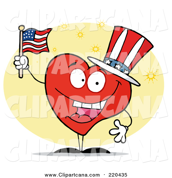 Clip Art of a Patriotic American Heart Character