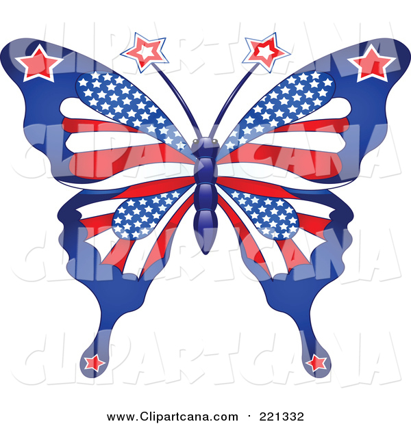 Clip Art of a Patterned American Butterfly