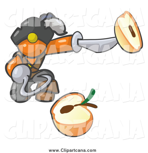Clip Art of a Pirate Orange Man Holding a Sliced Apple on a Sword