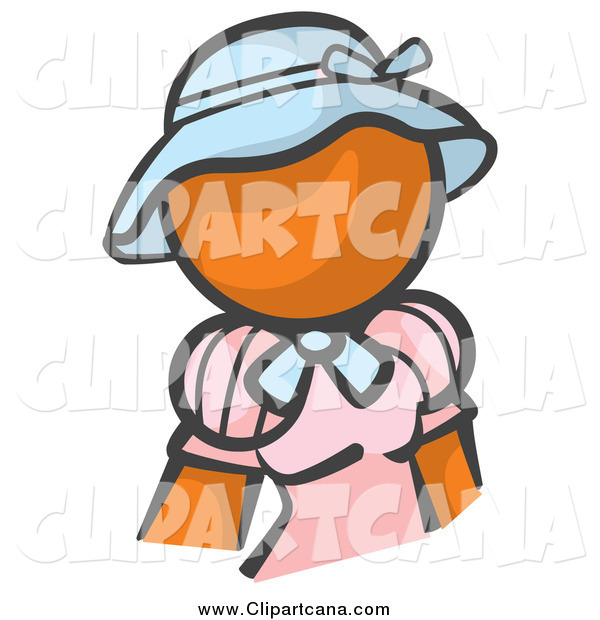 Clip Art of a Pretty Orange Woman Avatar in a Pink Dress and Blue Hat