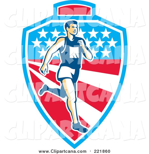 Clip Art of a Retro White Male Marathon Runner over a Mountain American Stars and Stripes Shield