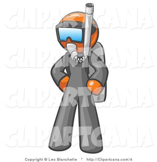 Clip Art of a Scuba Diver Orange Man
