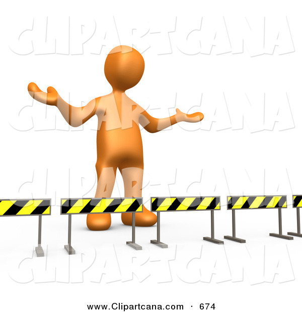 Clip Art of a Shrugging Orange Person Stuck Behind Caution Signs, Not Sure Where to Go