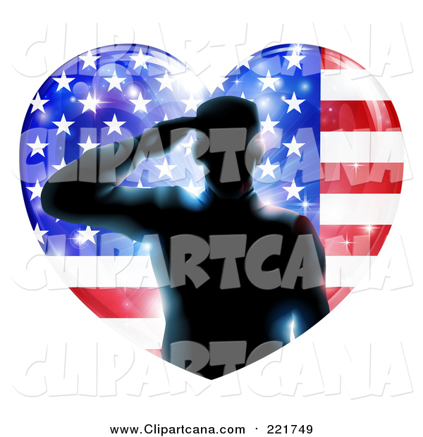 Clip Art of a Silhouetted Male Military Veteran Saluting in an American Flag Heart and Bursts