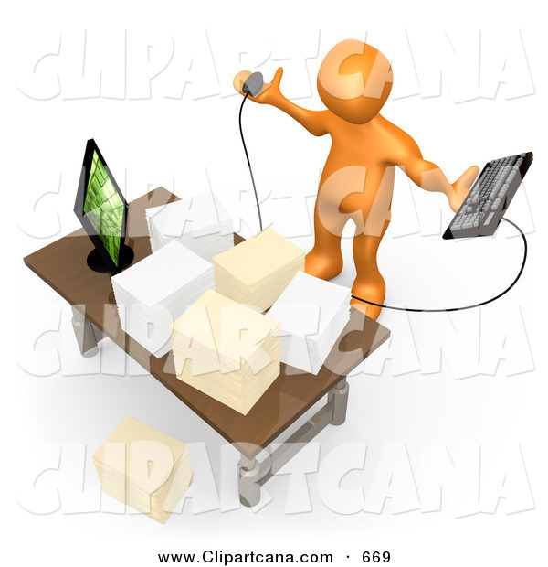 Clip Art of a Stressed out Busy Orange Employee Staring at Their Crowded Desk Topped with Stacks of Paperwork, Trying to Figure out Where They Can Put Their Computer Keyboard