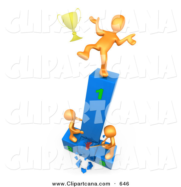 Clip Art of a Successful Orange Athlete Person Slipping and Dropping His Golden Trophy Cup While the Two Runners up Try to Hack down the First Place Podium in Revenge