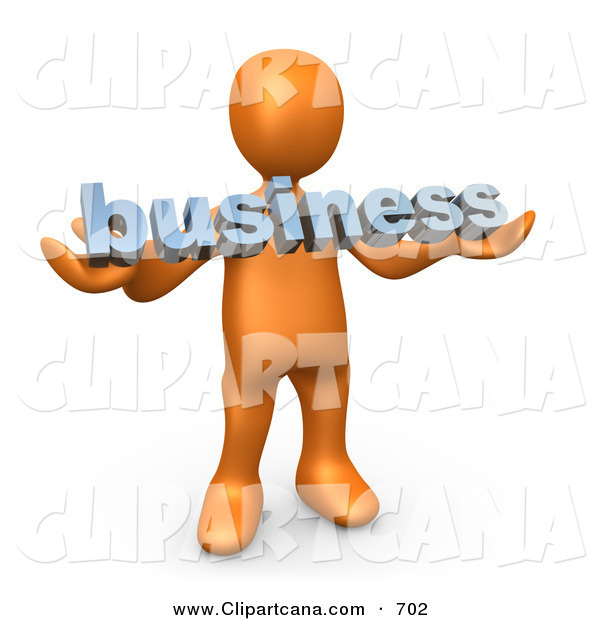Clip Art of a Successful Orange Person Holding a Blue Business Sign