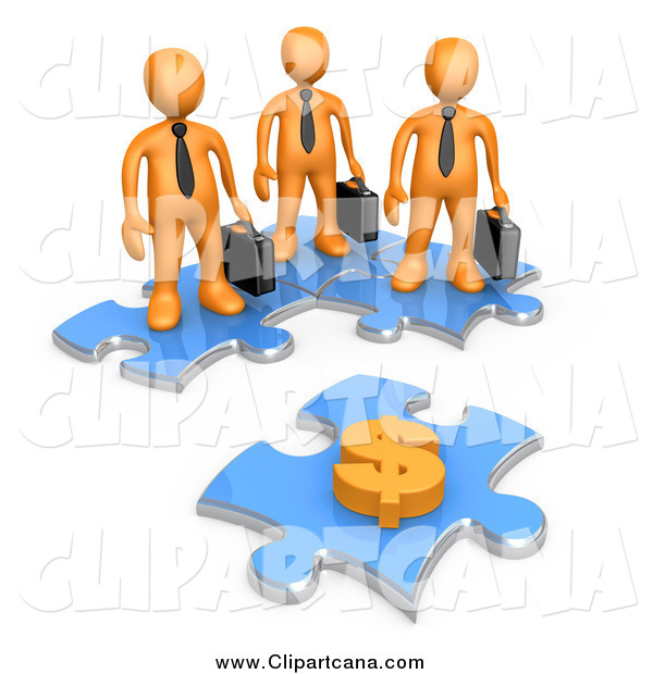 Clip Art of a Team of 3d Orange Businessmen Standing on Joined Puzzle Pieces, Looking at a Dollar Symbol
