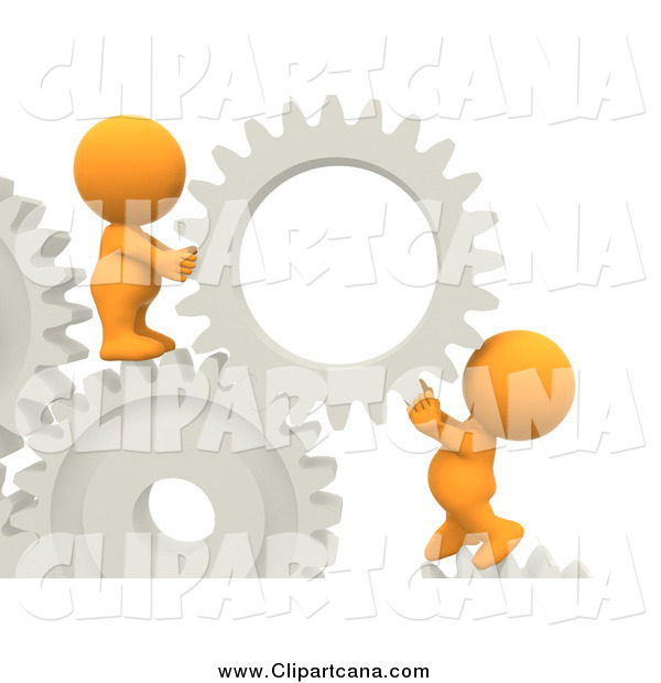 Clip Art of a Team of 3d Orange Guys Creating Gear Solutions