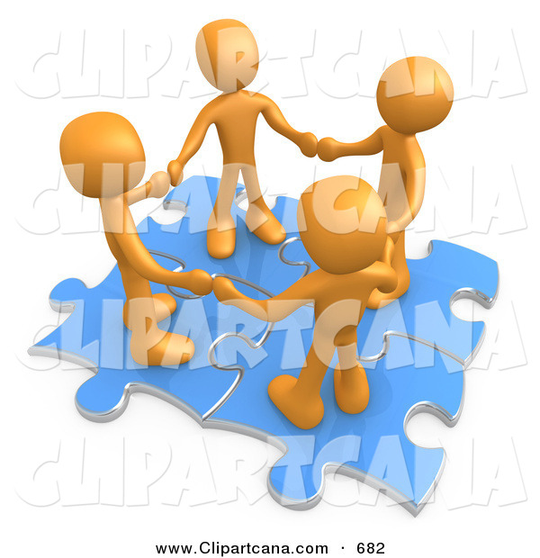 Clip Art of a Team of Four Orange People Holding Hands While Standing on Connected Blue Puzzle Pieces, Symbolizing Teamwork, and Interlinking for Seo Website Marketing