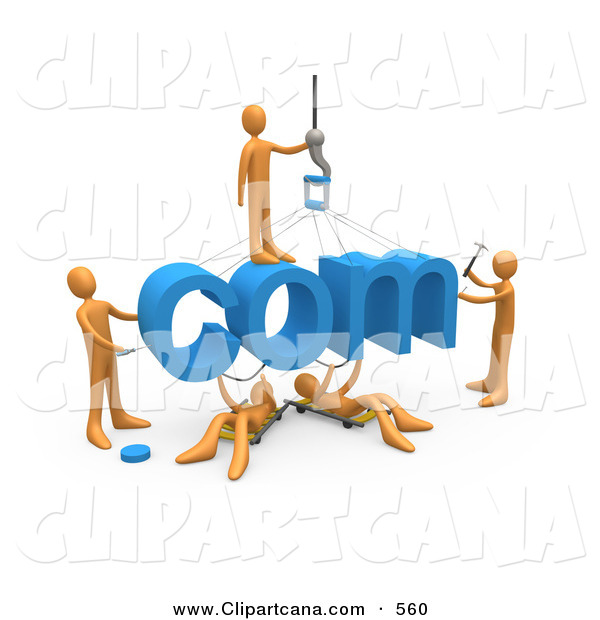 Clip Art of a Team of Orange Guys Constructing the Word Com, Symbolizing a Website Under Construction
