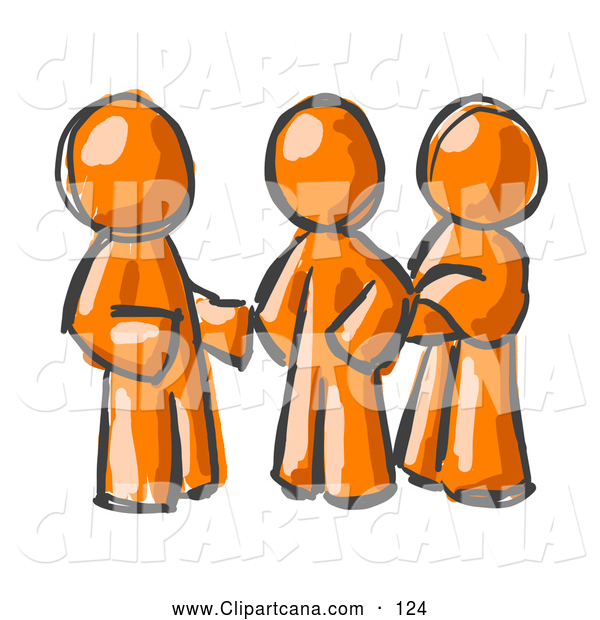 Clip Art of a Trio of Painted Orange Men Talking at the Office