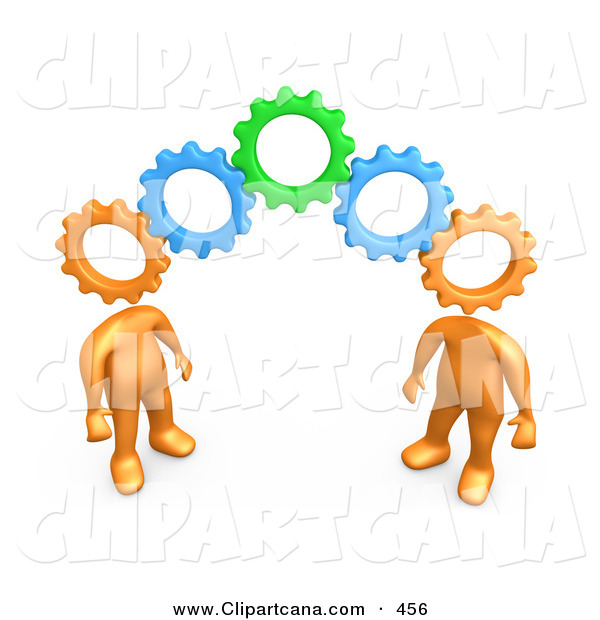 Clip Art of a Two Orange People with Interlocking Cog Heads, Standing on the Ends of Working Gears, Symbolizing Teamwork and Brainstorming