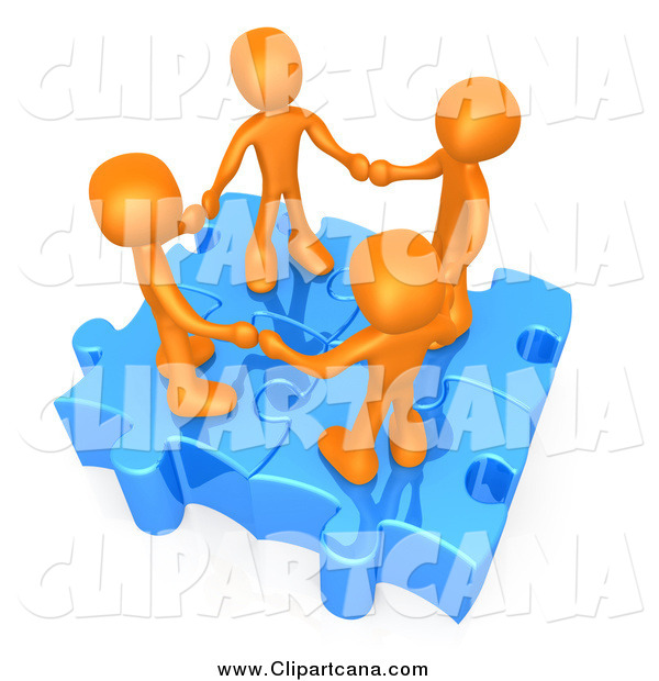Clip Art of a Union of 3d Orange People Holding Hands on Linked Puzzle Pieces
