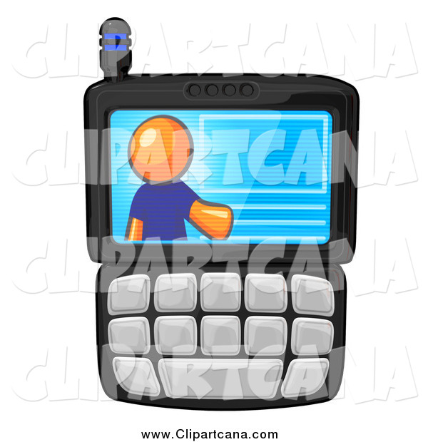 Clip Art of a Virtual Orange Man on a Cell Phone Display