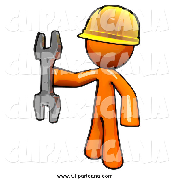 Clip Art of a Worker Orange Man Holding a Wrench