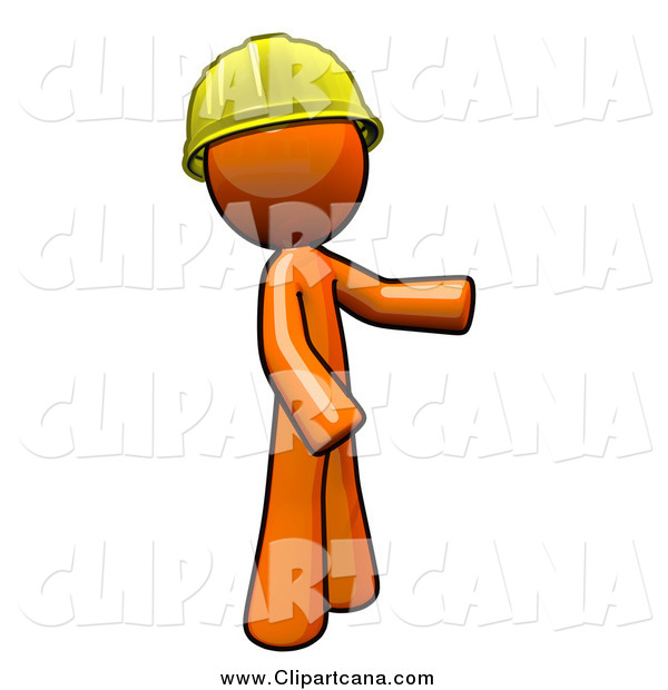 Clip Art of a Worker Orange Man Wearing a Hardhat and Presenting